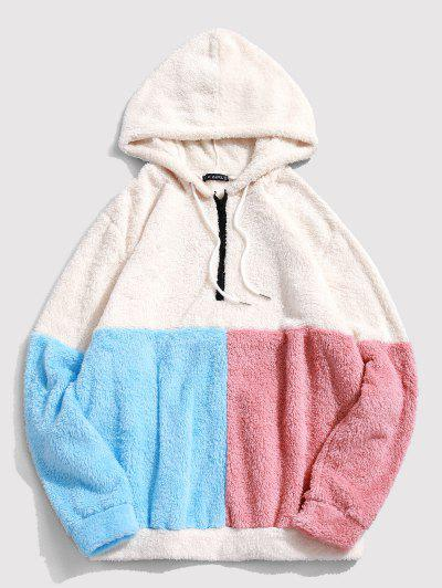 ZAFUL Color-blocking Splicing Half Zipper Fuzzy Hoodie - White L