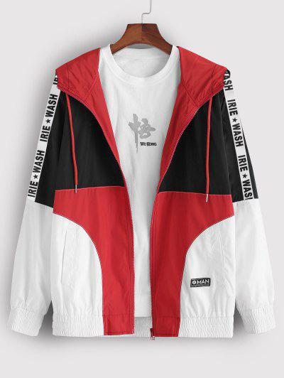 Colorblock Panel Letter Patch Hooded Jacket - Multi S