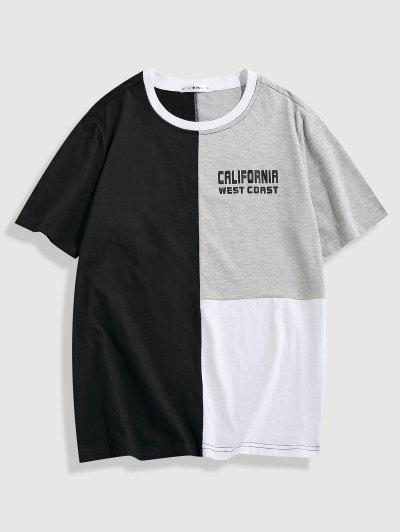 ZAFUL CALIFORNIA WEST COAST Colorblock Panel T-shirt - Multi Xl