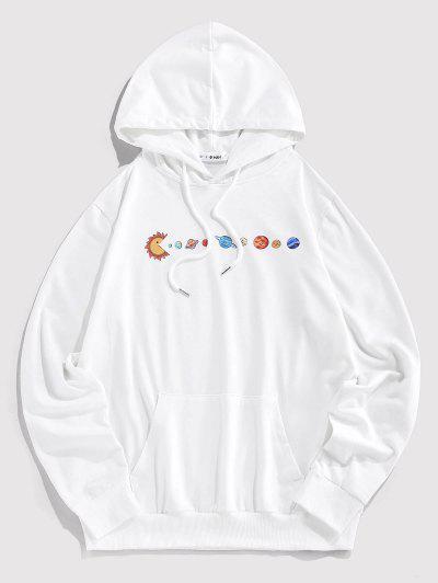 ZAFUL Cartoon Solar System Print Funny Hoodie - White M