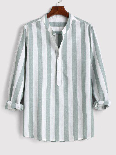 Color Blocking Stripes Half Button Shirt - Green 2xl