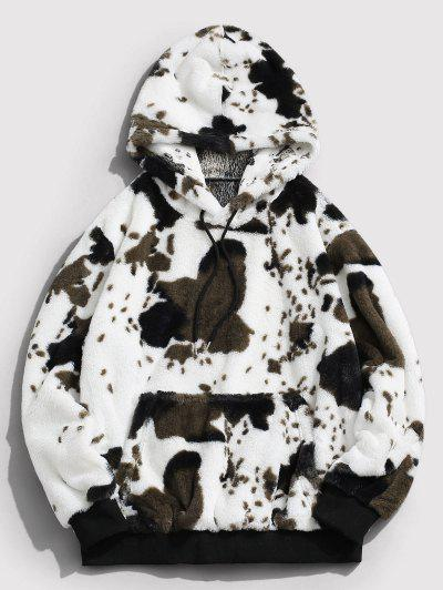ZAFUL Animal Pattern Faux Fur Fluffy Hoodie - White L