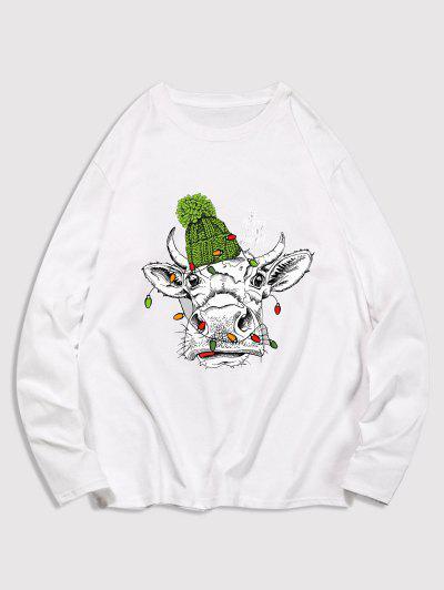T-shirt Animal Imprimé à Manches Longues - Blanc S
