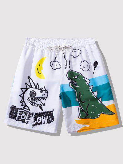 Cartoon Dinosaur Print Graphic Casual Shorts - White L