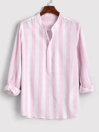 Color Blocking Stripes Half Button Shirt - Light Pink L