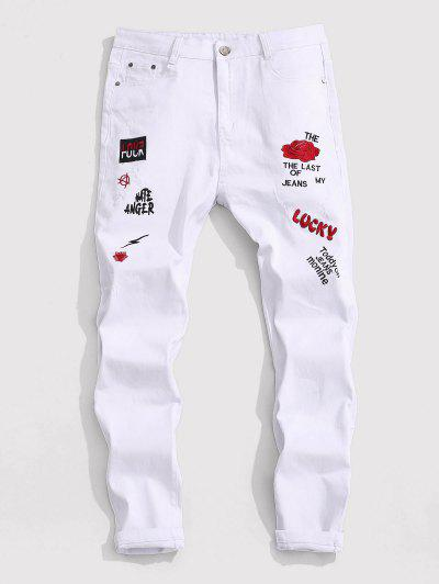 Floral Letter Embroidery Zipper Fly Casual Pencil Jeans - White 36