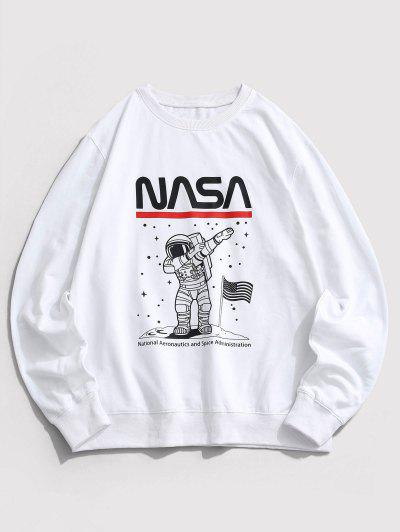American Flag Astronaut Graphic Crew Neck Sweatshirt - White M