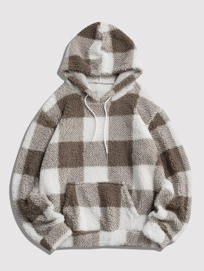 Fluffy Plaid Pattern Hoodie - White S