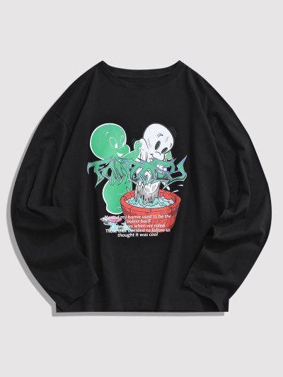 T-shirt Graphique Dessin Animé à Manches Longues - Noir S