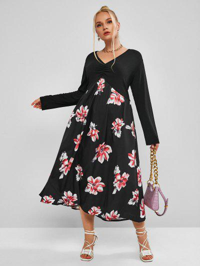 Plus Size Flower Long Sleeve Ruched Midi Dress - Black 4xl