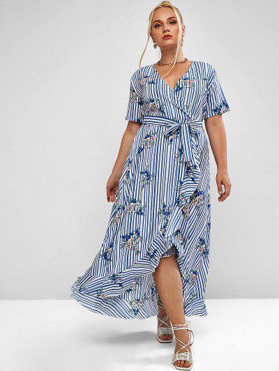 Plus Size Flower Striped Surplice Flounce Belted Dress - Blue Koi 3xl