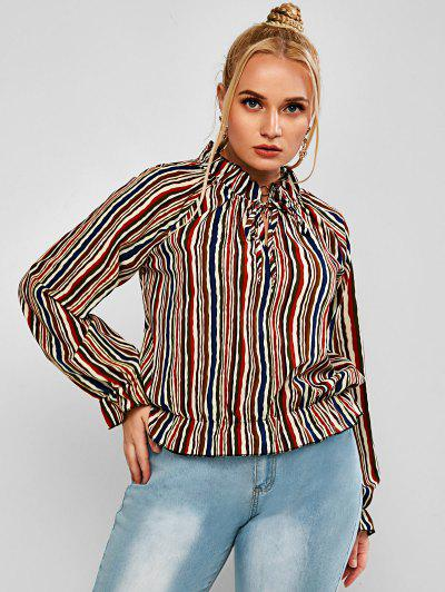 Plus Size Striped Ruffled Cuff Tied Pullover Blouse - Multi 2xl