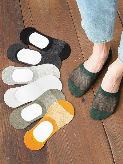 7 Pairs Mesh Anti Skid Slip-on Socks Set - Multi-a