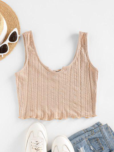 ZAFUL Lettuce Trim Notched Knitted Crop Top - Light Coffee S