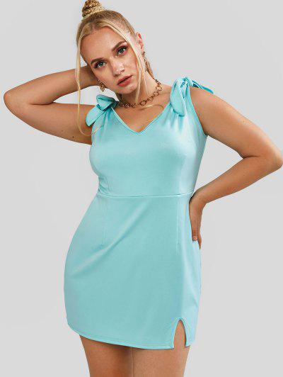 ZAFUL Plus Size Tie Shoulder Slit Glitter Dress - Light Green L
