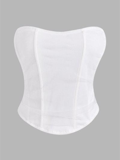Strapless Mesh Overlay Corset Top - White L