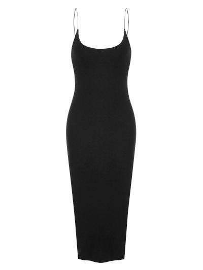 Bungee Strap Slit Midi Dress - Black M