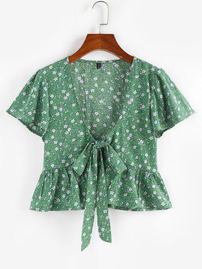 ZAFUL Blusa De Peplum Con Escote Pico De Mariposa - Verde Claro M