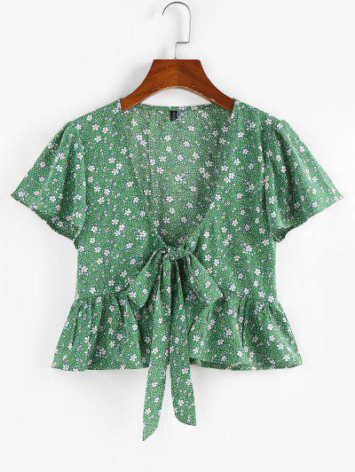 ZAFUL Flower Butterfly Sleeve Plunging Peplum Blouse - Light Green S