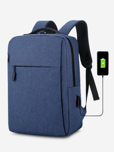 Brief Rectangle Solid Sports Backpack - Blue