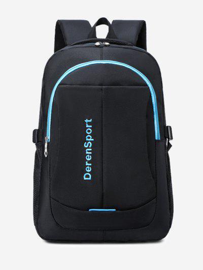 Contrast Letter Pattern Sports Backpack - Blue