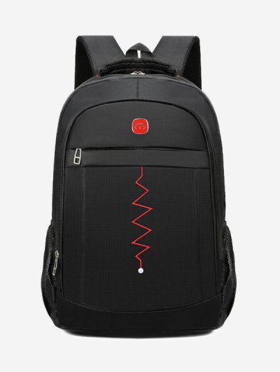 Zigzag Pattern Notebook Travel Backpack - Black
