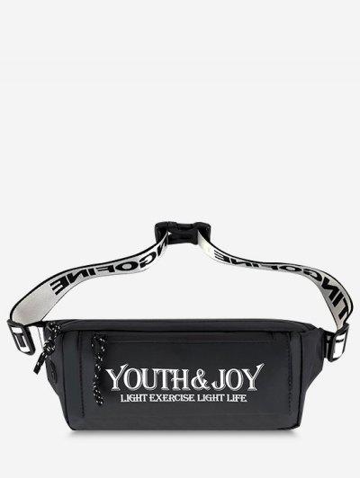 Printed Letters Waterproof Waist Bag - Black