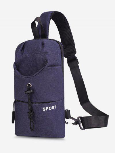 Sport Zipper Solid Chest Bag - Blue
