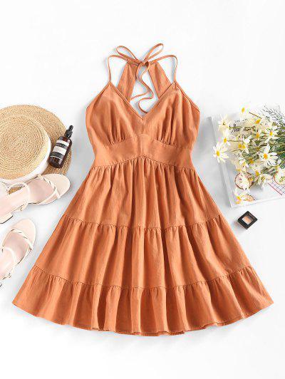 ZAFUL Open Back Empire Waist Tiered Dress - Orange M