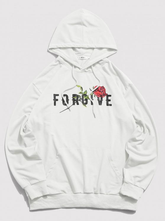 hot ZAFUL Forgive Rose Pattern Hoodie - WHITE L