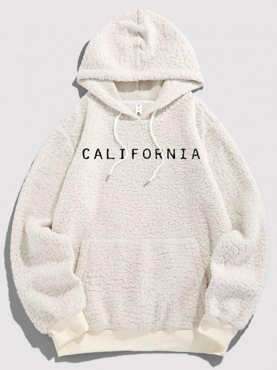 ZAFUL Letter Embroidered Faux Shearling Fluffy Hoodie - أبيض XL