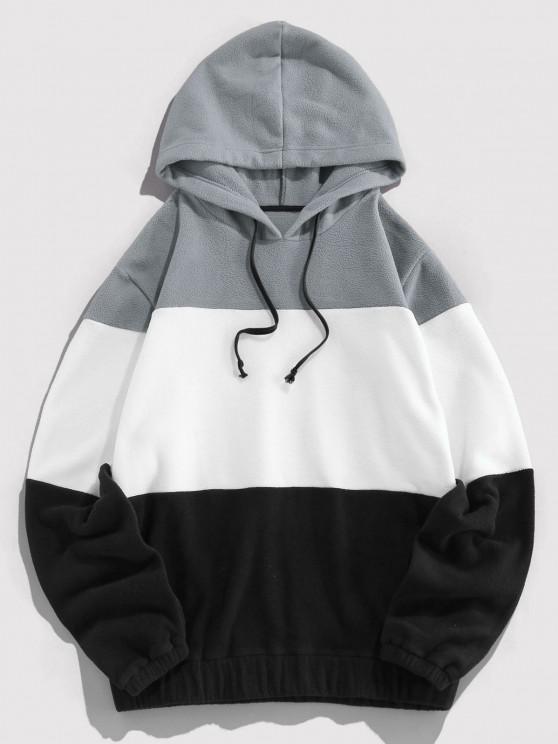 ZAFUL Drawstring Contrast Fleece Hoodie - سحابة رمادية L