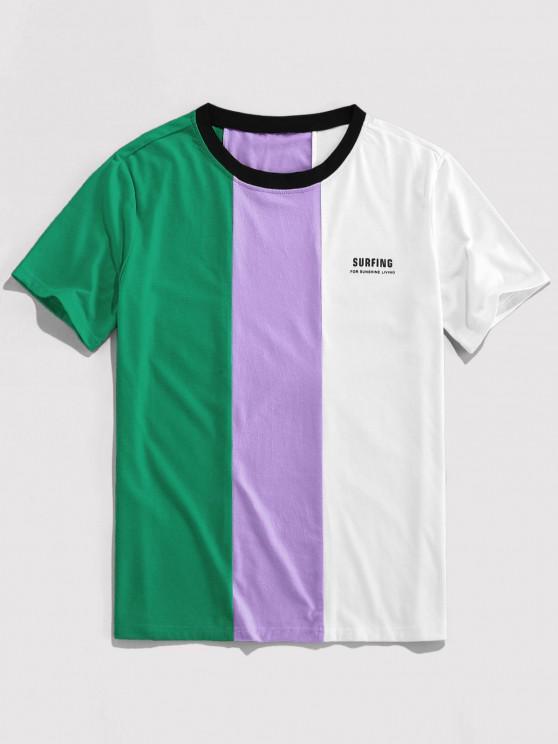 trendy ZAFUL Letter Print Contrast Slogan T-shirt - DEEP GREEN L