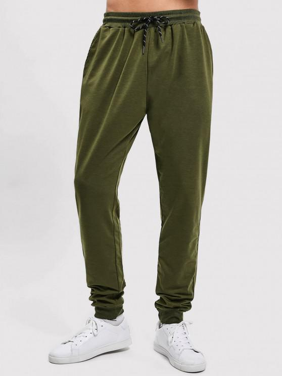 shop Solid Side Pockets Sports Jogger Pants - ARMY GREEN S