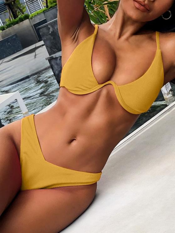 Bikini a Costine a Gamba Alta con Ferretto di ZAFUL - Giallo d'oro M