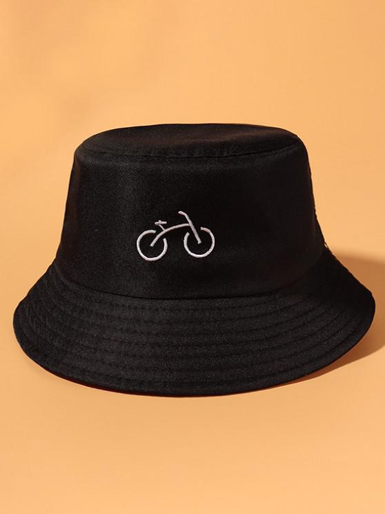 Fahrrad Bestickte Lässige Draussen Bucket Hut - Schwarz