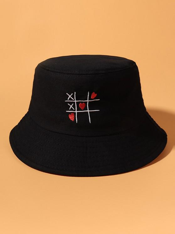 shops Heart Link Game Embroidered Cotton Bucket Hat - BLACK