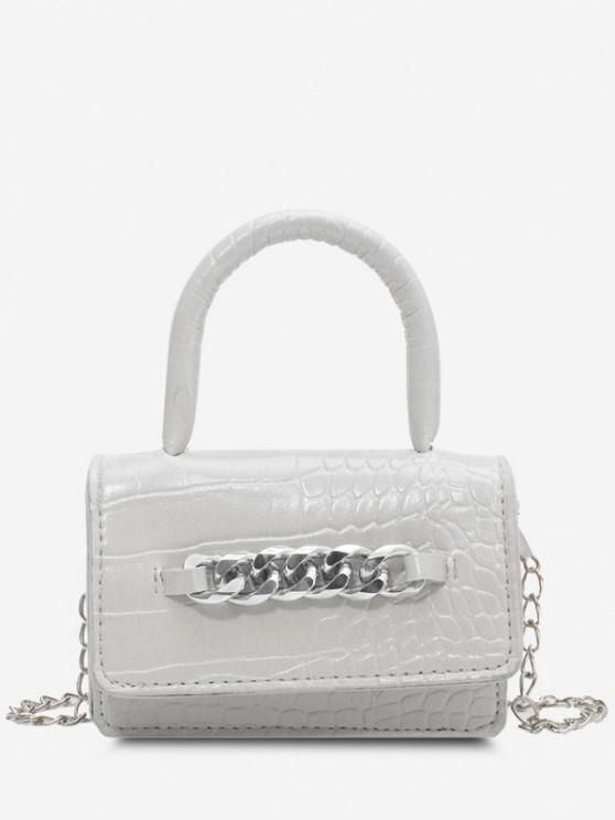 unique Chunky Chain Embellished Embossed Mini Crossbody Bag - WHITE