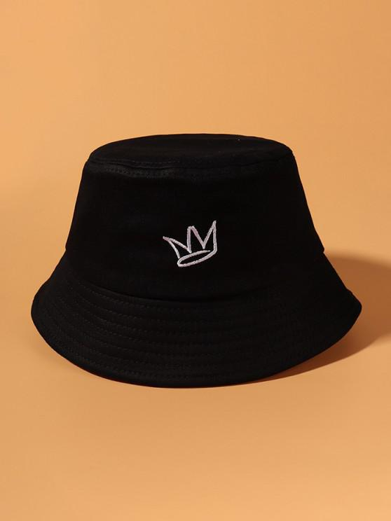 outfit Minimalistic Crown Embroidered Causal Bucket Hat - BLACK