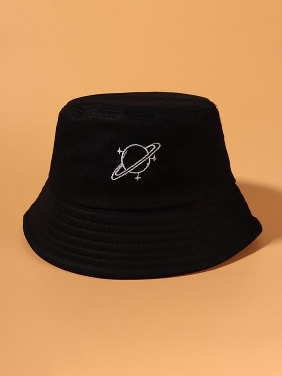 outfits Planet Pattern Embroidery Bucket Hat - BLACK