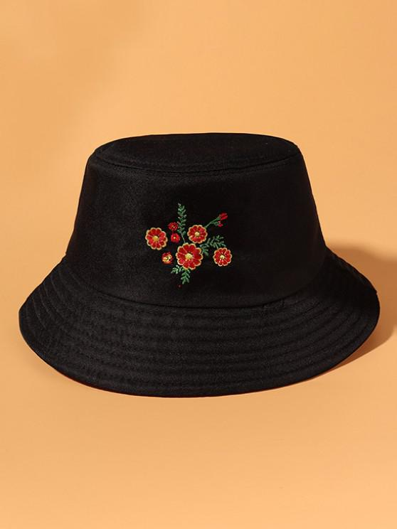shop Floral Embroidered Sun Protection Casual Bucket Hat - BLACK