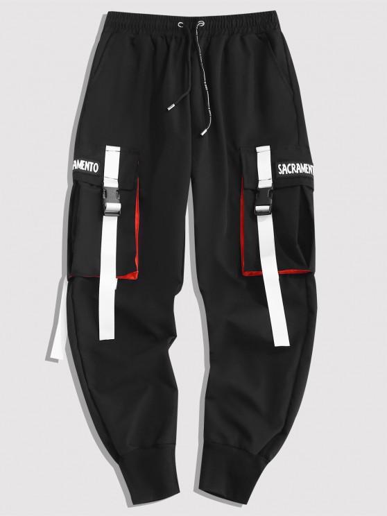 Letter Contrasting Strap Cargo Pants - أسود XS