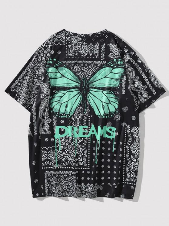 T-shirt Paisley Numérique à Fleurs Stéréo avec Papillons et Graphique - Noir L