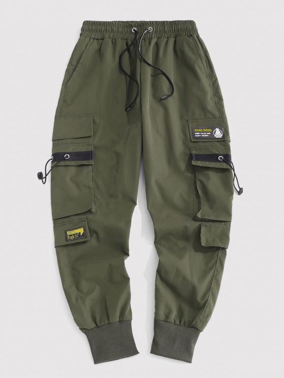 Pantaloni Cargo con Stampa a Lettere - Verde intenso M