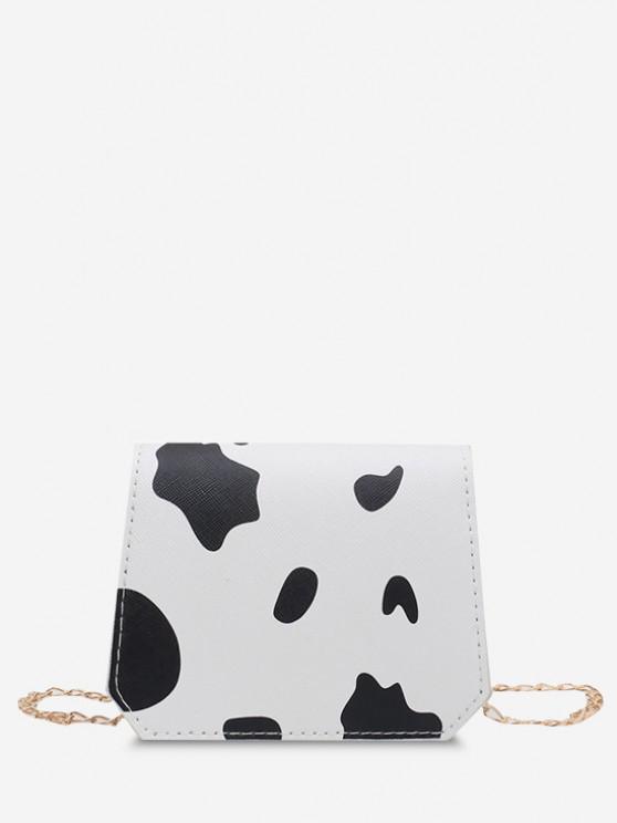 best Cow Print Grainy Flap Mini Crossbody Bag - BLACK