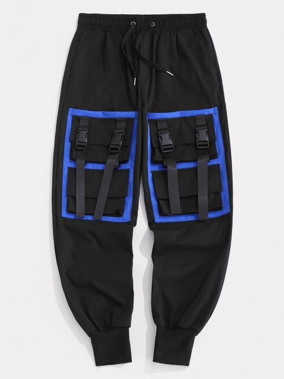 Contrasting Strap Multi-pocket Cargo Pants - أسود M
