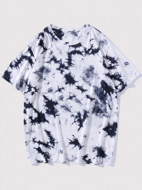 Kurzarm Krawattenfärbendes T-Shirt - Tiefes Blau XL