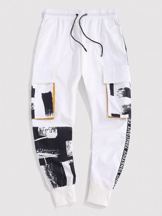 Vintage Print Contrasting Cargo Pants - أبيض L