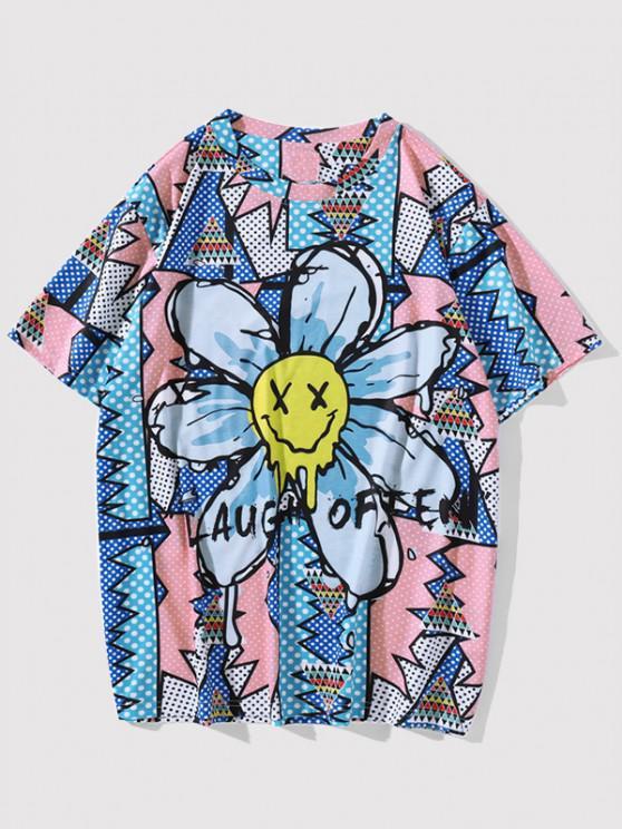 womens LAUGH OFTEN Smiling Face Flower Pop Art T-shirt - COBALT BLUE XL