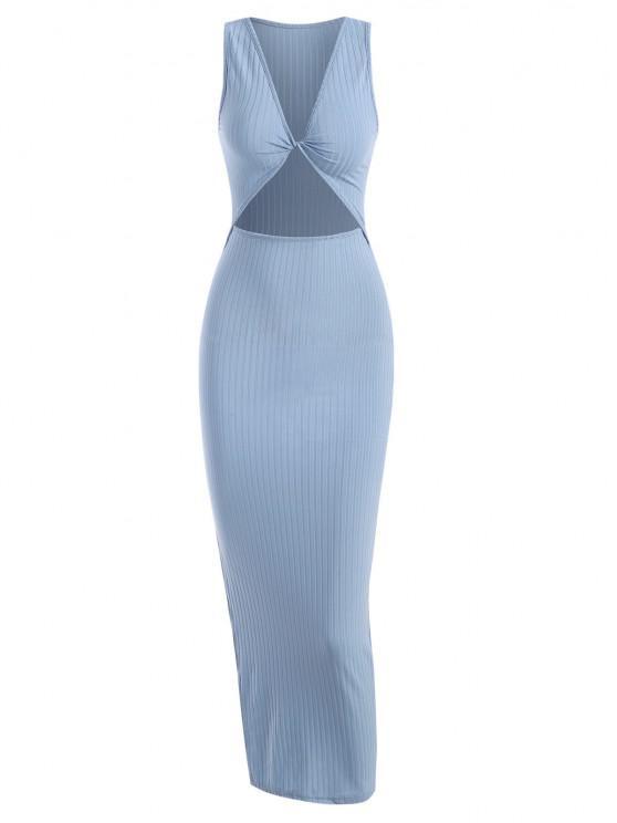hot Rib-knit Twist Cutout Split Side Slinky Tank Dress - LIGHT BLUE S